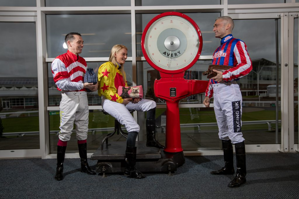 Picture Credit Charlotte Graham: Rachel Richardson, Andrew Mullen and Paul Mulrennan, professional Jockeys with Wash Bags for the Harrogate Homeless Project.
