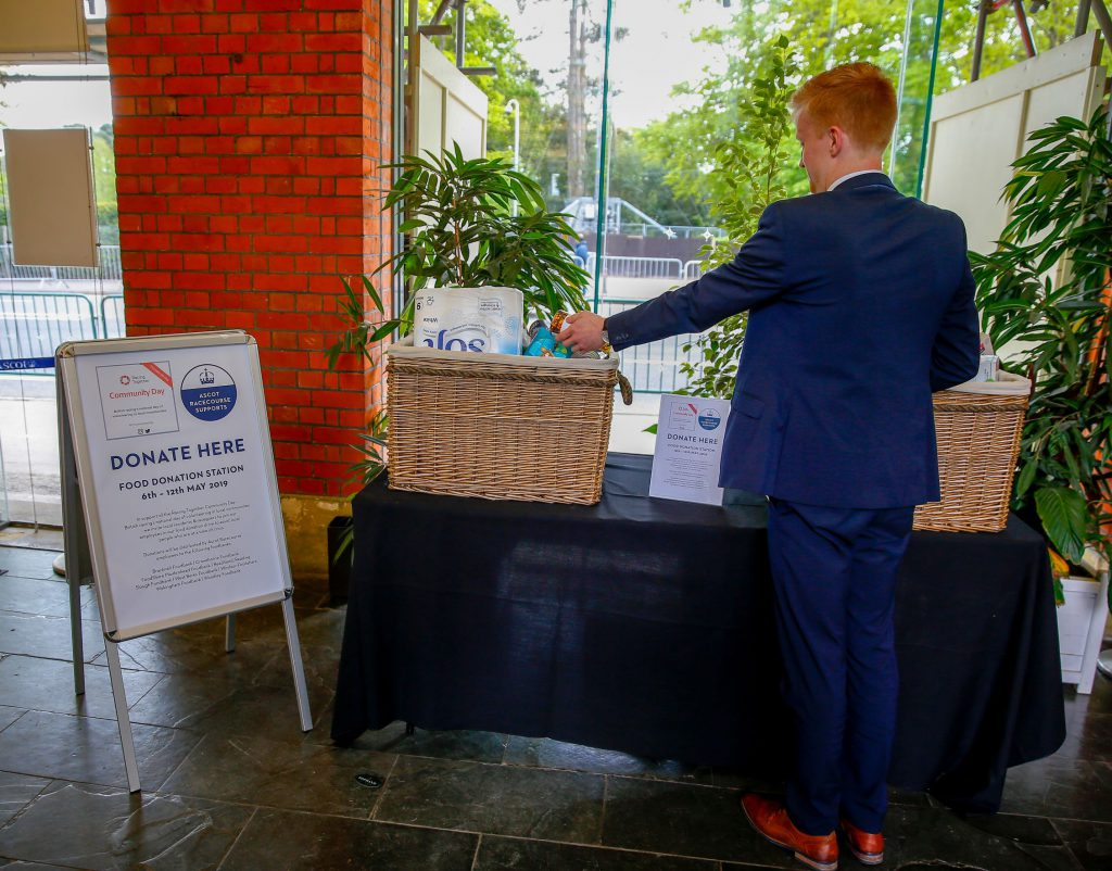 Racegoers supporting Ascot's 'Donation Station'