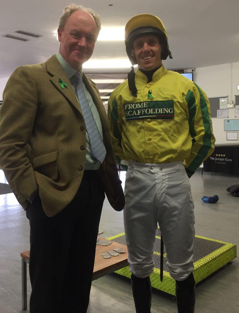 Robert and jockey Kevin Jones during Mental Health Awareness Week 2018