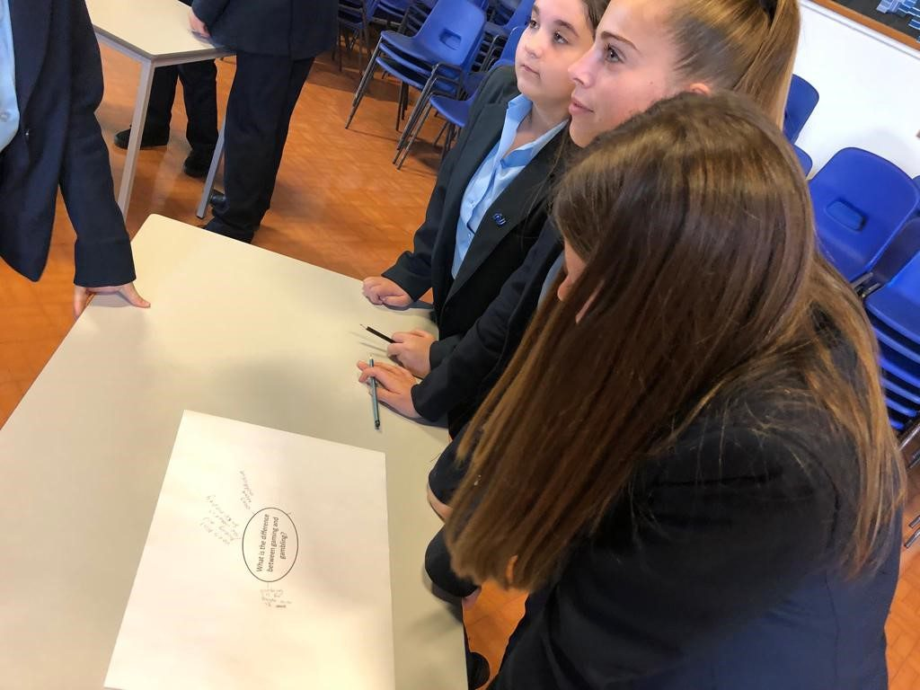 Newmarket Academy students during YGAM workshop with Racing to School