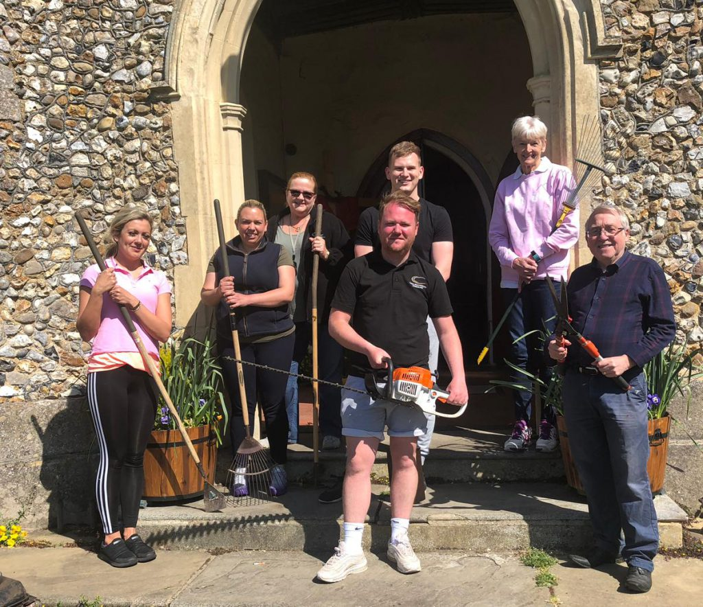 Chelmsford City Racecourse team volunteering at a local church