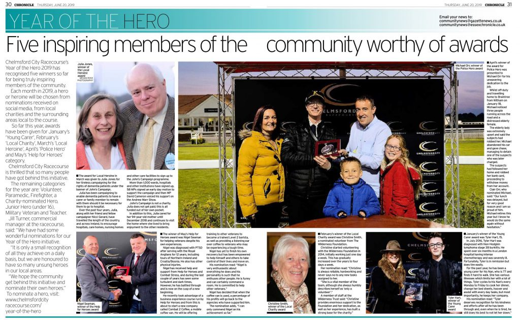 Chelmsford City Racecourse Year of the Hero news article